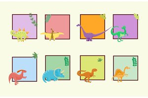 Cartoon dinosaurs vector illustration isolated monster card template animal dino prehistoric character reptile predator jurassic comic fantasy dragon