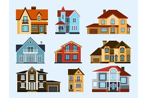 Houses front view vector illustration building architecture home construction estate residential property roof set apartment housing cottage