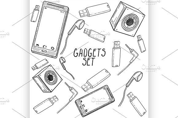 Set Of Hand Drawn Gadget Icons