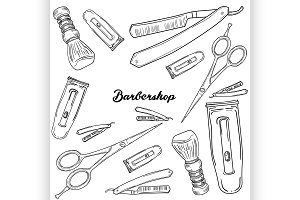 Set of vintage barbershop elements