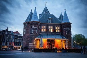 The Waag at Dusk in Amsterdam