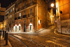 Lisbon City in Portugal at Night