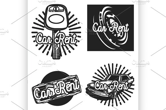 Color Vintage Car Rent Emblems
