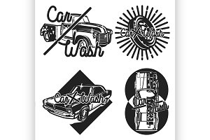 Color vintage car wash emblems