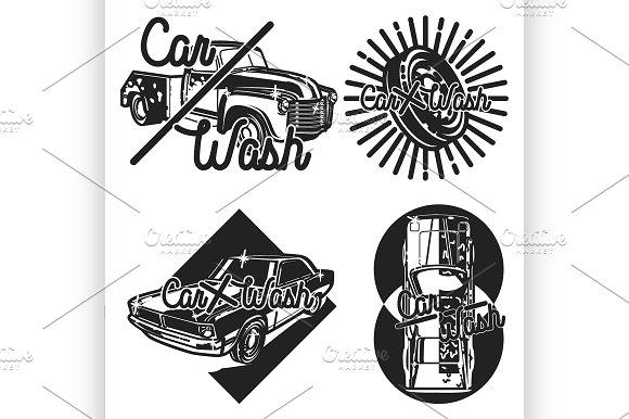 Color Vintage Car Wash Emblems