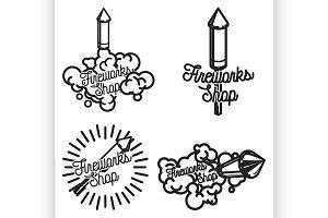 Color vintage fireworks shop emblems