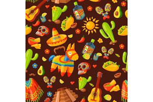 Mexico icons seamless pattern vector illustration.