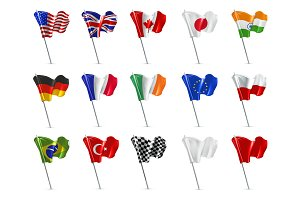Various flags, 3d vector icon set