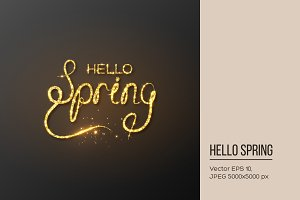 Glitter golden Hello spring lettering.