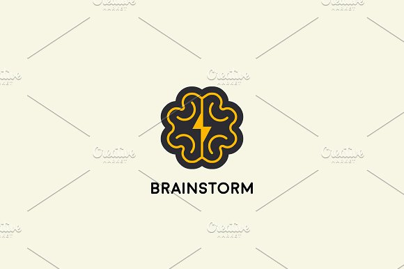 Abstract brain logo design template. Brainstorm vector sign. Education medicine smart logotype.