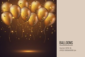 Realistic 3D glossy golden balloons.