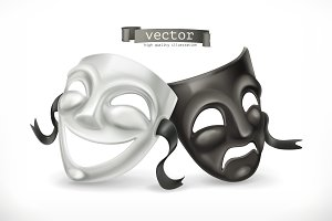 Black, white theatrical masks.Vector
