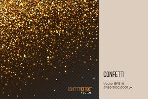 Golden confetti glitters particles.