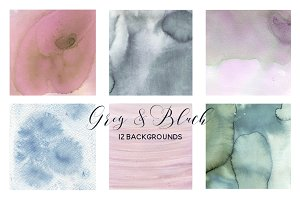 Grey & Blush Pink Watercolor Washes.