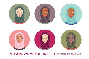 9 Muslim Woman in Hijab icons set