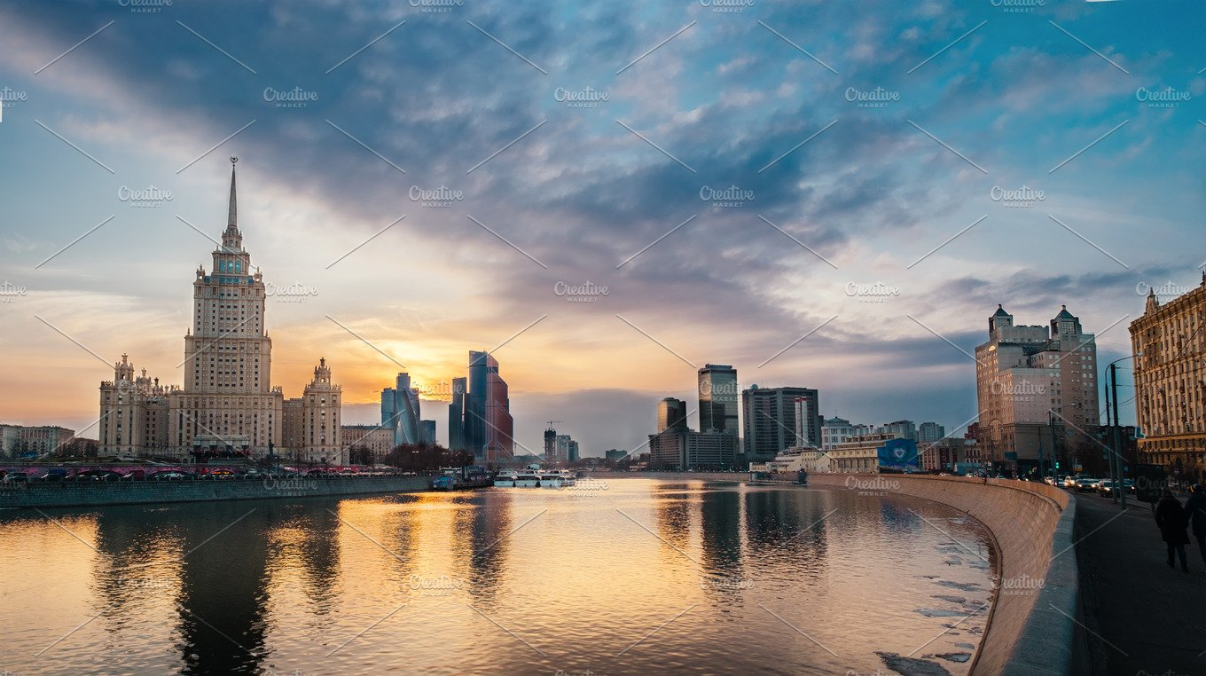 Wide Panoramic View Photography Of Evening City Landscape