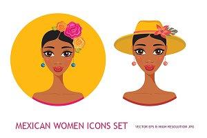 Mexican Hispanic Women Girl icon set