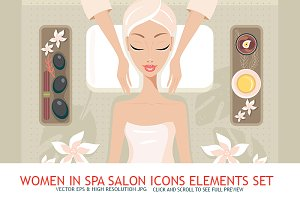 10 Women Spa Salon Icon Elements set