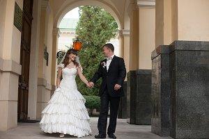 Stunning newlyweds walk