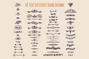 60 Text Dividers hand drawn