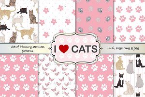 Cats seamless pattern set