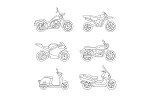 Motorcycle and scooter line icons set.