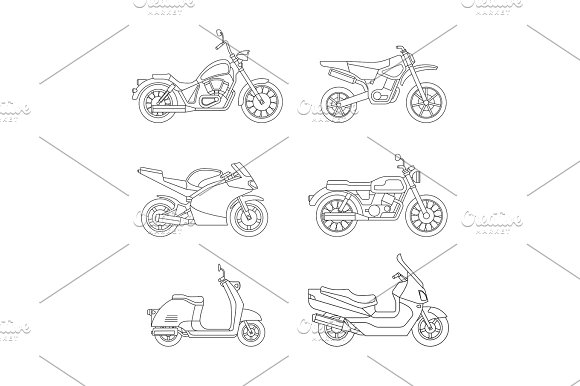 Motorcycle And Scooter Line Icons Set