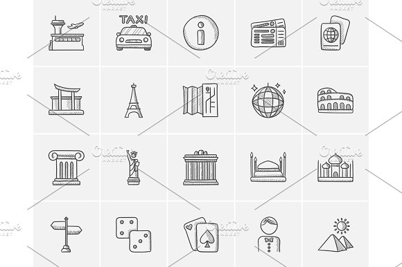 Travel And Holiday Sketch Icon Set