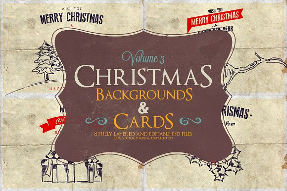 Christmas Background & Cards Vol.3 - Cards