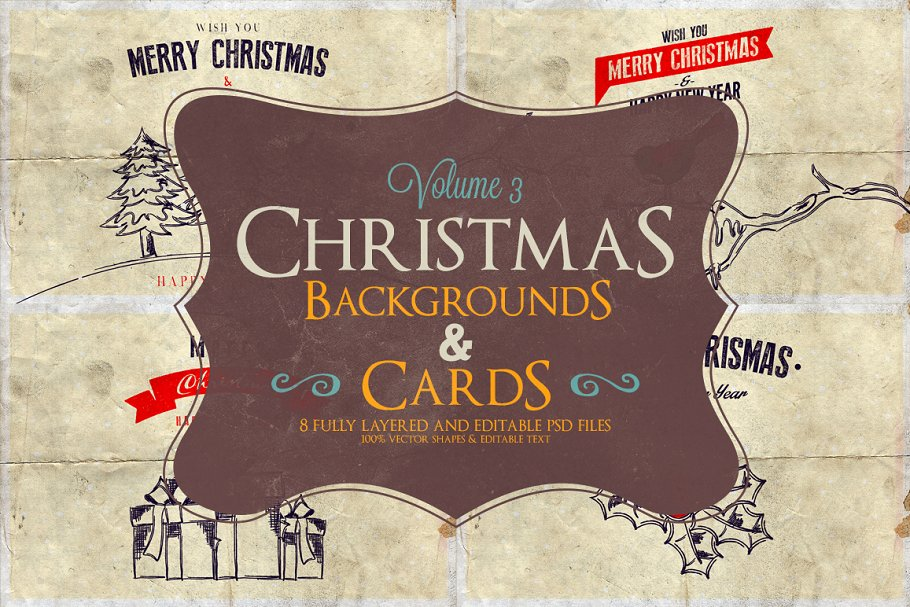 Christmas Background & Cards Vol.3 in Card Templates - product preview 8
