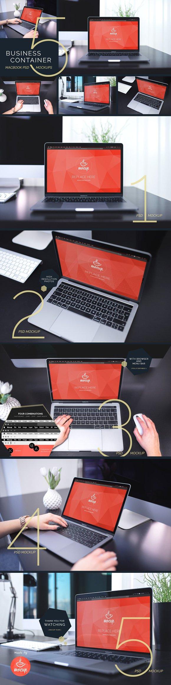 Download 5 PSD MacBook Mockups BC