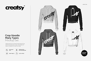 Crop Hoodie Many Types Mockup Set