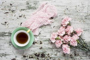 Cup of tea with Floral background