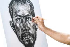Drawing portrait of asian man