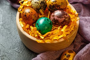 Easter composition with Easter quail eggs