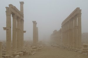 Palmyra columns in fog, destroyed by ISIS,Syria