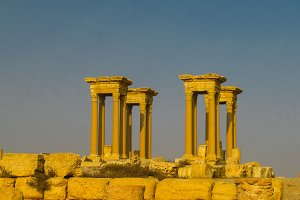 Panorama of Palmyra columns Tetrapylon and ancient city, destroyed ISIS Syria
