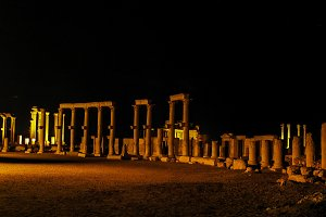Night Panorama of Palmyra columns , destroyed by ISIS, Syria