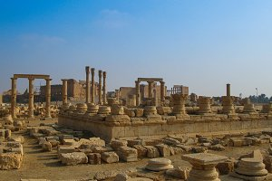 Panorama of Palmyra columns, ancient city destroyed by ISIS Syria