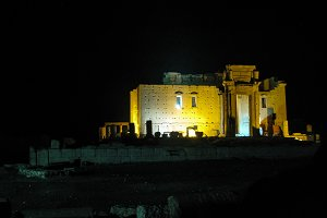 Destroyed temple of Baal in Palmyra, Syria at night