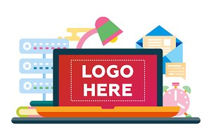 Work Place - flat design illustration with copyspace for Logo