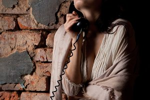 Woman with the old phone