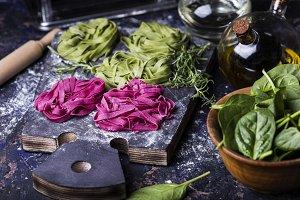 uncooked vegetables pasta