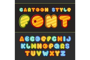 Colorful cartoon font. Cute vector alphabet.