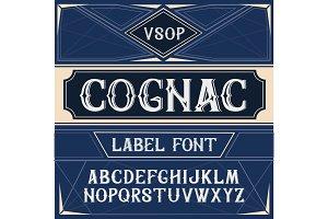 Vector vintage label font. Cognac  style
