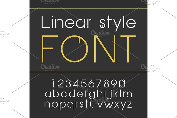 Vector Linear Font Simple And Minimalistic Alphabet In Line Style