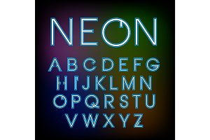 Vector linear neon font