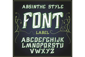 Vector acid font. Good for use to decoration alcohol production. Leaflet and other printing . Green