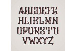 Vector gothic label font. Cognac style