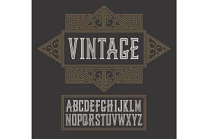 Vector vintage label font, modern style.  Whiskey